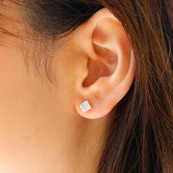 セカンドピアスレディース18K軸太0.8mm長さ12mmキュービックジルコニアゴールド・ユーキー18金K18キラキラスクエア大粒スタッドピアス華奢シンプルポストが太い安心ノンアレルギーアレルギー対応福耳おすすめジュエリーブランド