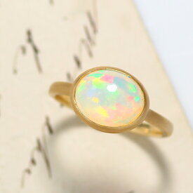 【GEM EDEN】エチオピア産オパールリング 10K イエローゴールド レディース 指輪・ハウ 大粒 ボリュームリング K10 10金 ファッションリング 10月の誕生石リング 虹色 ジュエリー ブランド 一粒リング 宝石 おしゃれ
