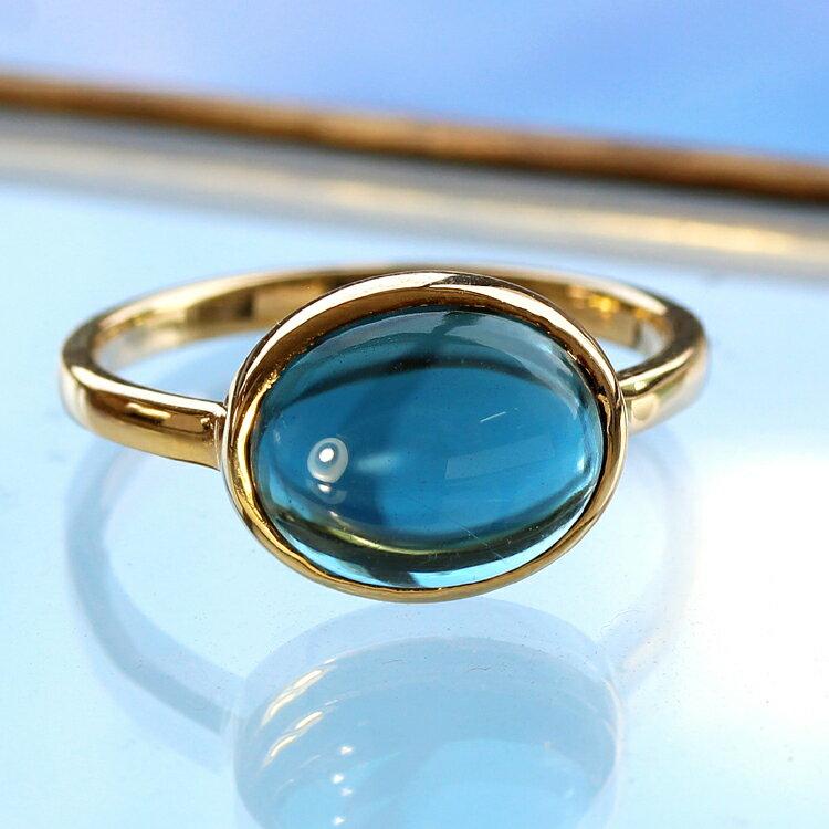 クーポンで最大3000円OFF!ロンドンブルートパーズ リング 10K イエローゴールド レディース 指輪・ハウ 大粒 ボリュームリング ファッションリング デザインリング カボションカット 11月の誕生石リング 青い宝石 ジュエリー ブラ