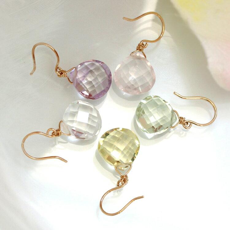 天然石 大ぶりピアス・パステリア 10K ゴールド フックピアス レディース ジュエリー K10 10金 揺れるピアス マロンカット ぶらさがり 天然石 誕生日プレゼント 女性 ブランド おすすめ 宝石