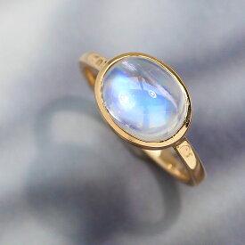 ロイヤルブルームーンストーン リング 10K イエローゴールド レディース 指輪・ハウ 大粒 ボリュームリング K10 10金 ファッションリング 6月の誕生石リング 高品質 ジュエリー ブランド 一粒リング 宝石 おしゃれ