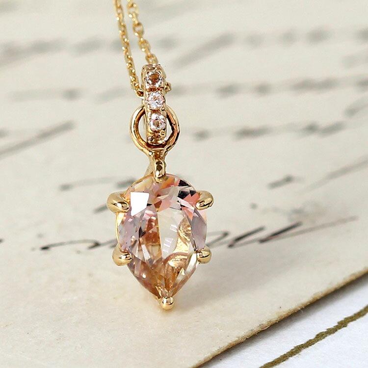ミスティローズトパーズ ネックレス ゴールド ロゼファシナン ホワイトトパーズ K10 レディース バイカラー 11月の誕生石 華奢 シンプル 高品質 ペンダント ジュエリー ブランド 宝石