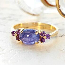 タンザナイト リング 10K イエローゴールド レディース 指輪・アモーレスト デザインリング K10 10金 ファッションリング 12月の誕生石リング ジュエリー 大粒リング ブランド 宝石 おしゃれ