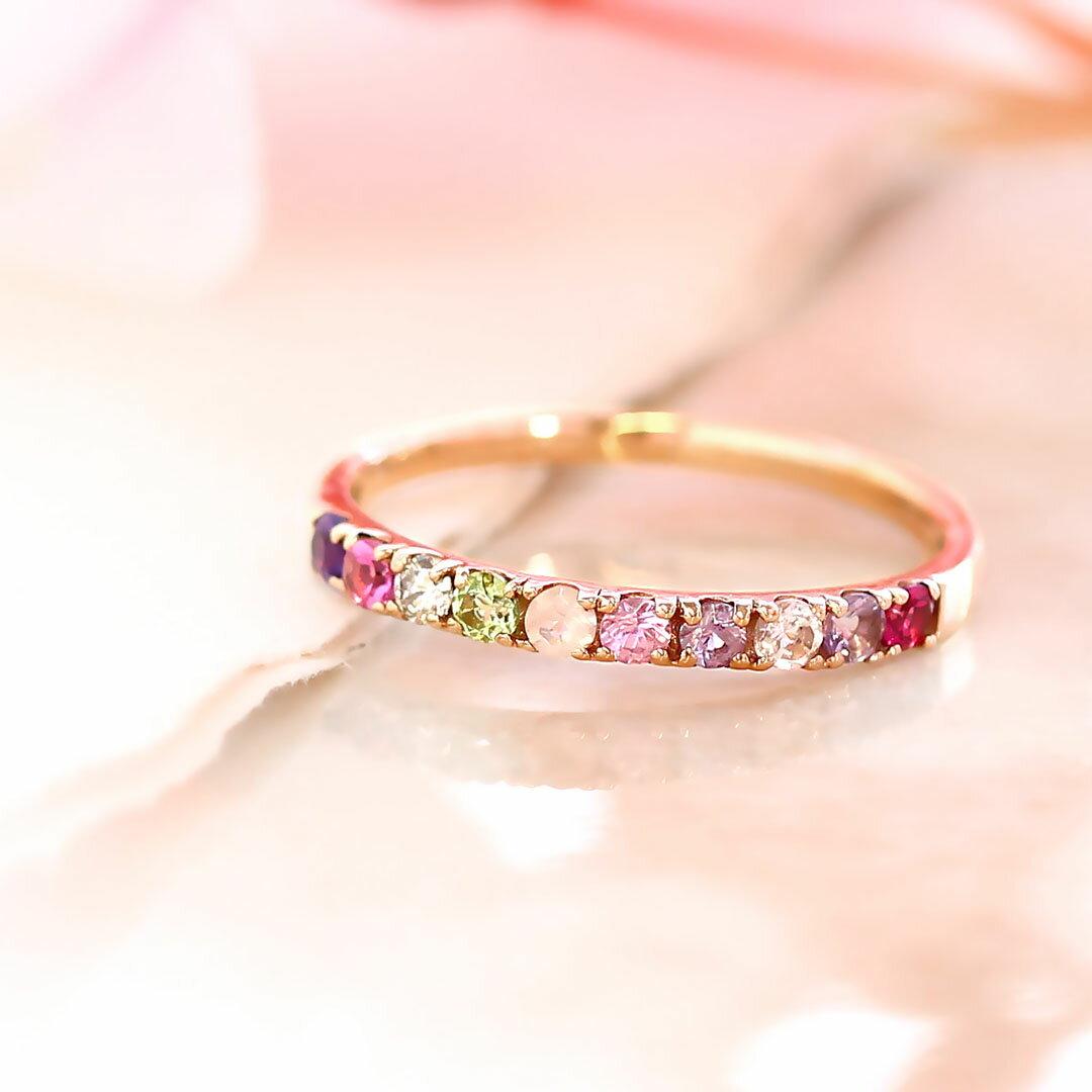 桜色 エタニティリング ピンクダイヤモンド 10K レディース 指輪・ティルム ゴールド K10 10金 エタニティーリング 重ね付け 重ねづけ ピンク色 ピンクグラデーション アクセサリー 華奢 シンプル ファッションリング ブランド 宝石