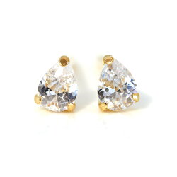 セカンドピアスおすすめレディース18K軸太0.8mm長さ12mm天然石ゴールド・ドルティアつけっぱなし18金K18一粒シンプルスタッドピアス金属アレルギーフリーしずく型ペアシェイプ女性安心ノンアレルギー対応福耳人気ブランド宝石