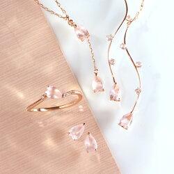 桜の花びらネックレス10Kレディースローズクォーツ・ペタルッサピンクゴールドさくらサクラ大人かわいい人気桜のネックレスペンダントアクセサリー誕生日プレゼント女性春K1010金ブランド宝石