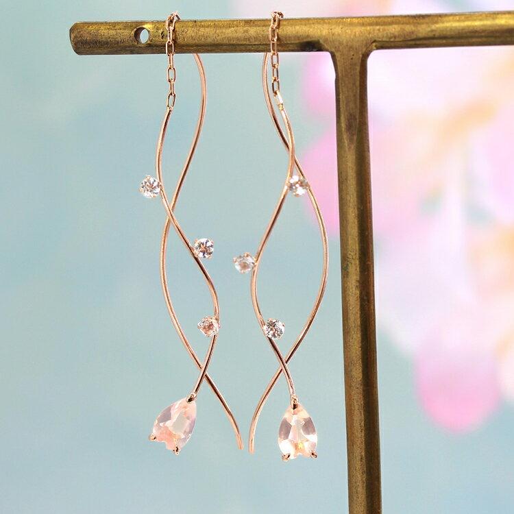 桜の花びら アメリカンピアス 10K レディース ローズクォーツ・ペタルスカ ピンクゴールド ホワイトトパーズ さくら サクラ 大人かわいい 人気 桜のピアス ロングピアス 揺れるピアス アクセサリー 誕生日プレゼント 女性 春 K10 10金 可愛いピアス ブランド 宝石