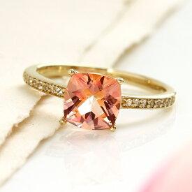 ピーチトパーズ リング 指輪 ゴールド ピシュオン K10 レディース 11月の誕生石 高品質 ファッションリング クッションカット ジュエリー 大粒 大ぶり スワロフスキージェムストーン ブランド 宝石