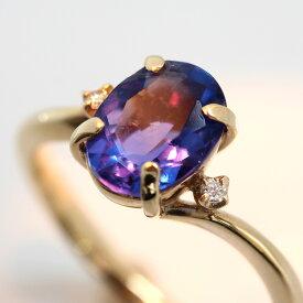 カラーチェンジフローライト ダイヤモンド 10K イエローゴールド リング レディース 指輪・ビブラータ 華奢 シンプル ファッションリング チェンジカラー ブランド 宝石