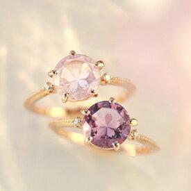 さくらインカット 桜色の天然石 リング 指輪 10K ピンクゴールド レディース・グラントワザクラ ローズクォーツ ローズアメジスト 可愛い プレゼント 2月誕生石 モチーフ ブランド