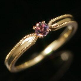 ブラジル産アレキサンドライト エメラルドマイン社 10K ピンクゴールド ホワイトゴールドリング レディース 指輪・パオリエッタ K10 10金 華奢 シンプル ファッションリング 可愛い ゆびわ ジュエリー ブランド 宝石 おし
