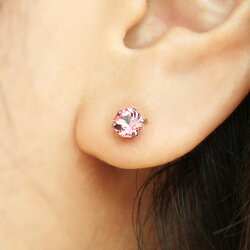 桜色ピアスチェリーブロッサムトパーズ10Kゴールド・ラヴィエスタッドピアスシンプル一粒ピアスさくらサクラピンクトパーズ11月誕生石K1010金かわいい