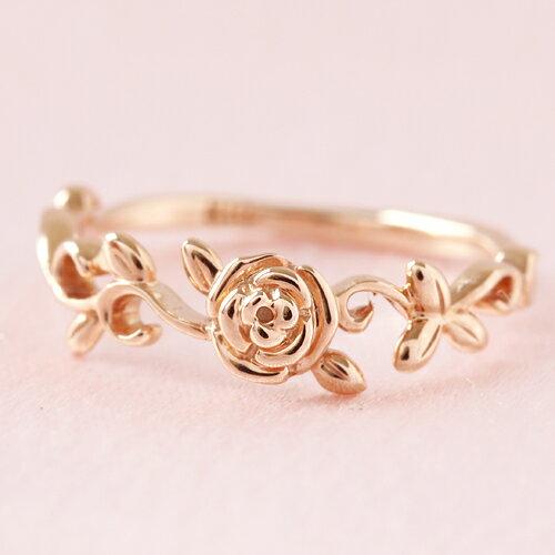 10金 ピンクゴールド ホワイトゴールド イエローゴールド ピンキーリング レディース 指輪・リンダ 10K 10金 薔薇 バラ カラーストーン モチーフ サイズ3号から シンプル 重ねづけ ファランジリング ミディリング 関 ブランド