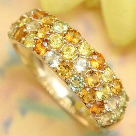 パヴェリング 10K イエローサファイア カラーストーン ゴールドリング レディース 指輪・ヒマワリ ひまわり 向日葵色 ファッションリング K10 10金 ピンクゴールド ホワイトゴールド 黄色 グラデーション 大人可愛い ジュエリー ブランド カラフル 宝石 おしゃれ