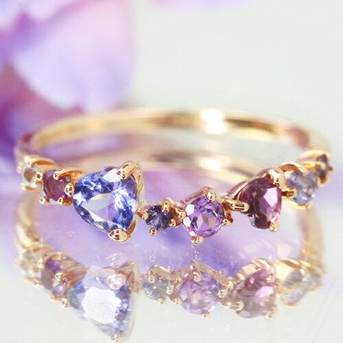 10金 マルチカラージュエル エタニティリング ピンクゴールド ホワイトゴールド 指輪・ティアーナドリーム タンザナイト ブルームーンストーン 誕生日プレゼント 女性 ファッションリング レディース※【ニュアンスパープル、マーメイドのページです】