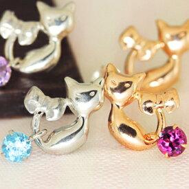 猫 ピアス 10K K10 10金 レディース 天然石 ピンクゴールド ホワイトゴールド・リボンとねこ ネコモチーフ 誕生日プレゼント 女性 アクセサリー 猫雑貨 彼女へ かわいい 10金 可愛いピアス ジュエリー ブランド 宝石