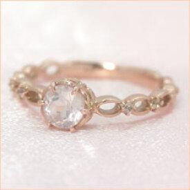 【ローズクオーツ ピンクゴールド リング 指輪・インテッセレ】 誕生日プレゼント 華奢 シンプル 可愛い ゆびわ ジュエリー ブランド 宝石 おしゃれ