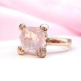 クーポンで最大3000円OFF!【ローズクオーツ ダイヤモンドリング・フダムール】大粒ローズクオーツにチェスカットをほどこして、バラ色に透きとおるリングをお作りしました♪ ジュエリー ブランド 宝石