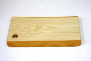 カッティングボード まな板 バケットプレート キッチントレイ 木製 天然木 ヒノキ 桧 檜 一枚板 無垢 手作り 自然 皮 耳付き オイル仕上げ Mサイズ 幅330mm 奥行約190mm 厚み20mm