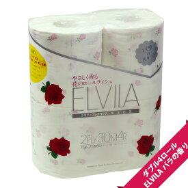 【可憐なローズのフレグランス】エルビラ バラの香り トイレットペーパー ダブル(4ロール)×12個パック【まとめ買い/ケース販売】【花柄 プリント柄】