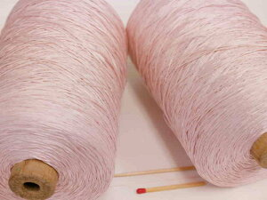 【シルクギマ加工糸(さくらピンク)】 さらさらの風合いのテープ状になったシルク糸です。夏物素材におすすめ!