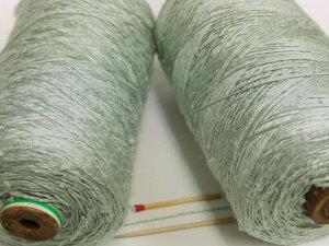 【ベトナム手紡糸(うぐいす)】 手紡ぎの糸ならではの不規則な変化を楽しめる個性的な絹糸です。おもしろい糸をお探しの方はぜひ一度お試しください!