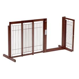 ペットゲート 犬用 [ スタンド ゲート F80A メッシュ] 木製 ゲート ドア付き 置くだけ 室内用 伸縮 幅調節 自立型 ペット家具
