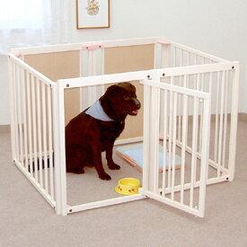 ペットサークル 『ペット サークル80 L+サークル ルーフ L』 大型犬 サークル 木製 室内用 日本製 [セット販売]