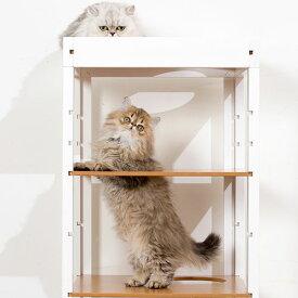 [ネット限定セール] キャットタワー 「キャット タワー パレス 2棟セットT」 おしゃれ 木製 据え置き 猫タワー ネコタワー 多頭飼い 室内用