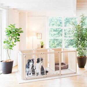 ペットサークル [ サークル プラス FS 80 XLp メッシュ] 木製 大型犬 サークル 多頭飼い 室内用 ドッグサークル スライドドア 仕切り 日本製
