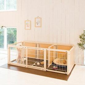「サークル プラス FS 60 Lp メッシュ」日本製 木製 ペットサークル サークル 多頭飼い 小型犬 サークルドッグサークル スライド ドア付き 室内用