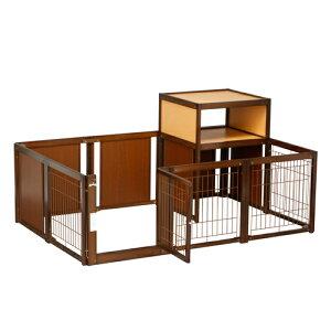 [新商品] ペットサークル [ サークル F60XLp メッシュ Tセット ] 木製 小型犬 サークル 多頭飼い 室内用 収納 日本製