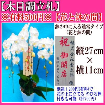 花と鉢の間【木目調立札】