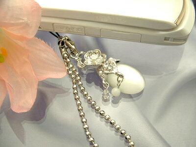 キラッと輝く☆大粒キャッツアイなすび携帯ストラップ(ホワイト)【10P30May15】