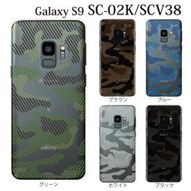 Plus-S スマホケース docomo Samsung Galaxy S9 SC-02K 用 透ける迷彩柄 カムフラージュ クリア ハードケース