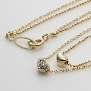 【日本製】スワロフスキー付き2連ハートモチーフネックレス・ペンダントダブル/ゴールド【アクセサリー】【首飾り】【necklace】