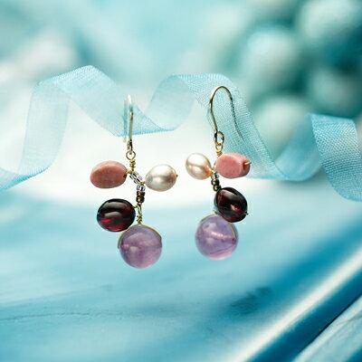 天然石アンティークピアス/アメジスト【natural stone pierce】【Lady's】【レディース ピアス】【女性用】【レディス】