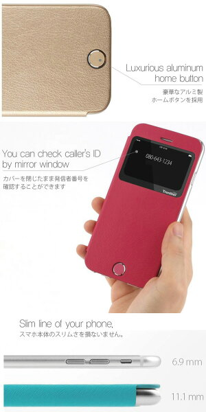 iPhone6iPhone6GalaxyS6,S6Edge窓付きケースカバー手帳TrentherviewCaseiPhone6plusケース手帳型GalaxyS6edgeSC-04G,SCV31/GALAXYS6SC-05G手帳型ケースカバーフリップケース
