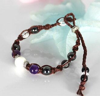 ★ natural stone MIX Amethyst / Hematite × quartz braided wax cord natural stone bracelets (natural stone bracelet)