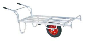 【運搬作業用品-収穫車・コンテナ車】ハラックス コン助 アルミ製1輪車 ストッパー伸縮タイプ CN-65DX エアータイヤ <大型・重量商品>