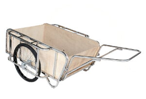 【運搬作業用品-リヤカー】ハラックス 輪太郎 ステンレス製大型リヤカー BS-1384SUTG エアータイヤ(合板パネル付) <大型・重量商品>