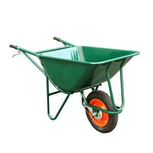 【運搬作業用品-一輪車】3才1輪車 ブレーキ付 空気入り車輪 <大型・重量商品>