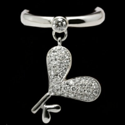 "Key of Heart KH-3 サイズ5号 Pt神田うのダイヤモンドジュエリー""DuNoA""デュノア  ピンキーリング"