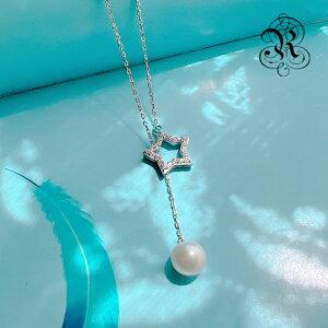 【RUKA瑠夏】☆淡水パール 本物真珠 胸元をエレガントに演出するY字型のペンダント キラキラ星をモチーフにしたパーツがアクセントです フォーマルでもカジュアルでも ネックレス 卒業式