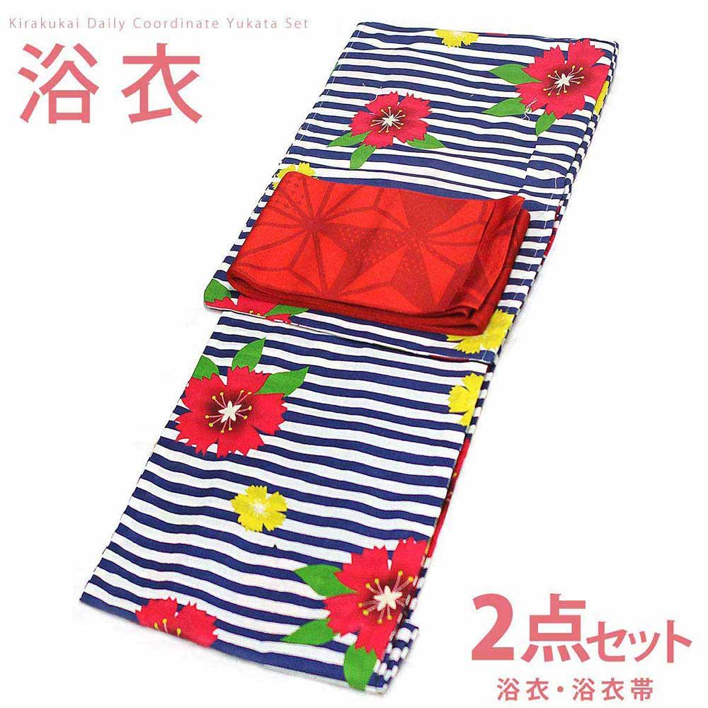 ■浴衣 セット 浴衣2点セット TLサイズ 縞になでしこの柄(白×紺×赤)の浴衣、赤色に麻の葉模様の柄の単衣帯 [y0598] ゆかた TLサイズ セット コーディネート 帯 【RCP】