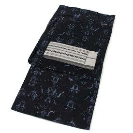 ■メンズ浴衣 2点 セット Mサイズ 黒地にシンメトリーの幾何学模様の変わり織浴衣 灰色の献上角帯 [m189] コーディネート 帯 【RCP】