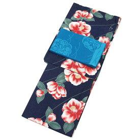 ■レディース 浴衣 2点 セット Fサイズ 紺地に椿 変わり織 浴衣 青色の単衣帯 [y2308] ゆかた 単衣帯 コーディネート 帯 【RCP】