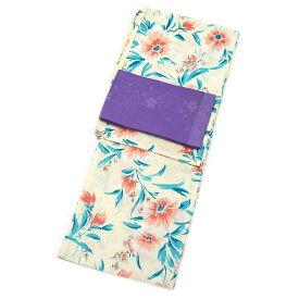 レディース 浴衣 2点 セット Fサイズ 薄い黄地に橙色の花 変わり織浴衣 紫色の単衣帯 [y2438] ゆかた 単衣帯 コーディネート 帯■