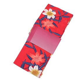 ■レディース 浴衣 2点 セット フリーサイズ 大きな百合の花(赤色地) ピンク色のぼかし帯 [y2659] ゆかた コーディネート 帯