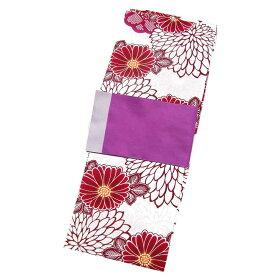 レディース 綿麻 浴衣 2点 セット フリーサイズ 大きな菊に鹿の子の梅(アイボリー色地) 紫色×薄紫色のリバーシブル帯 [y2878] ゆかた コーディネート 帯■